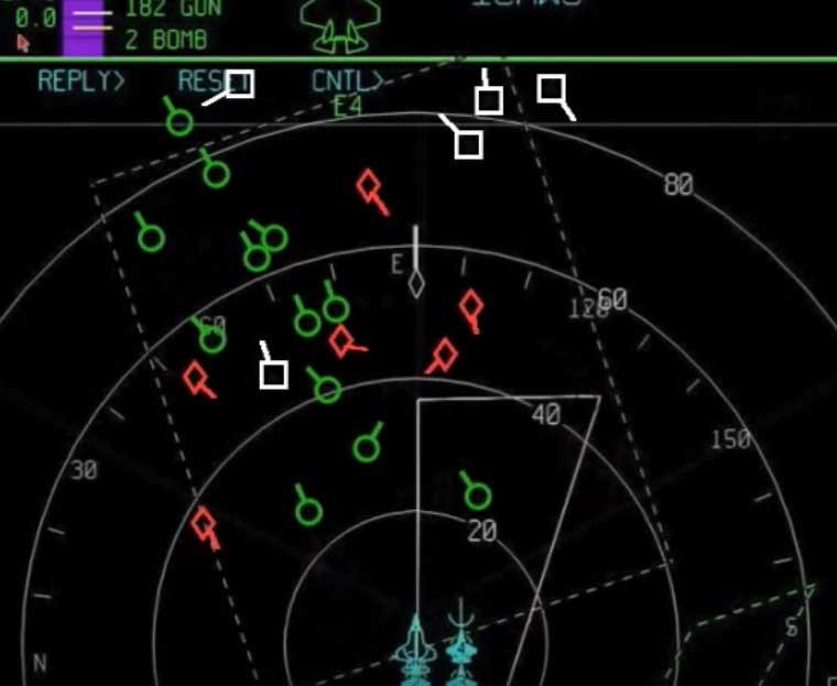 ディスプレイに表示される追尾中の航空機