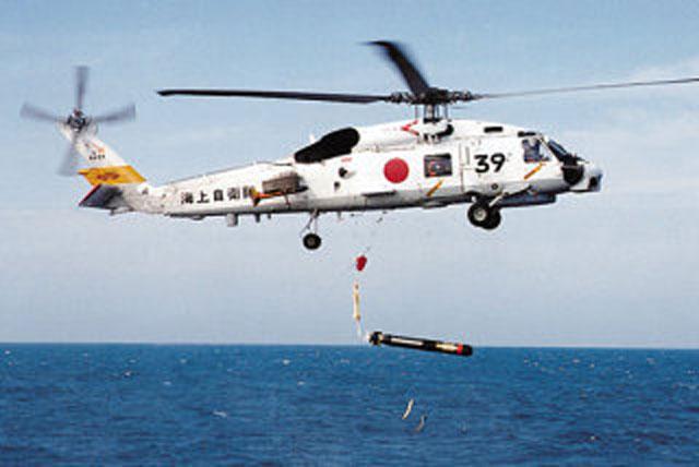 ヘリから投下される魚雷